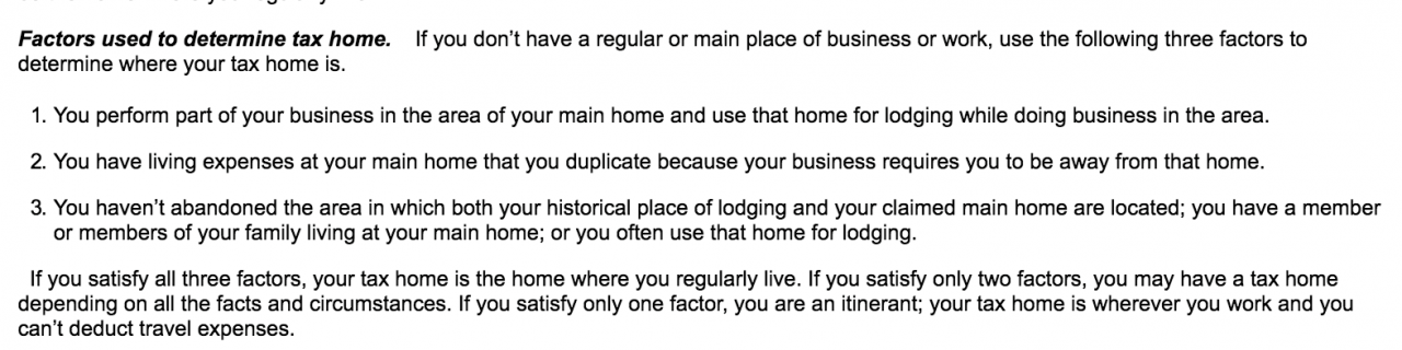 If We Only Satisfy One Of The Three Factors Cannot Deduct Our Travel Expenses Because Tax Home Is Wherever Are Curly Working